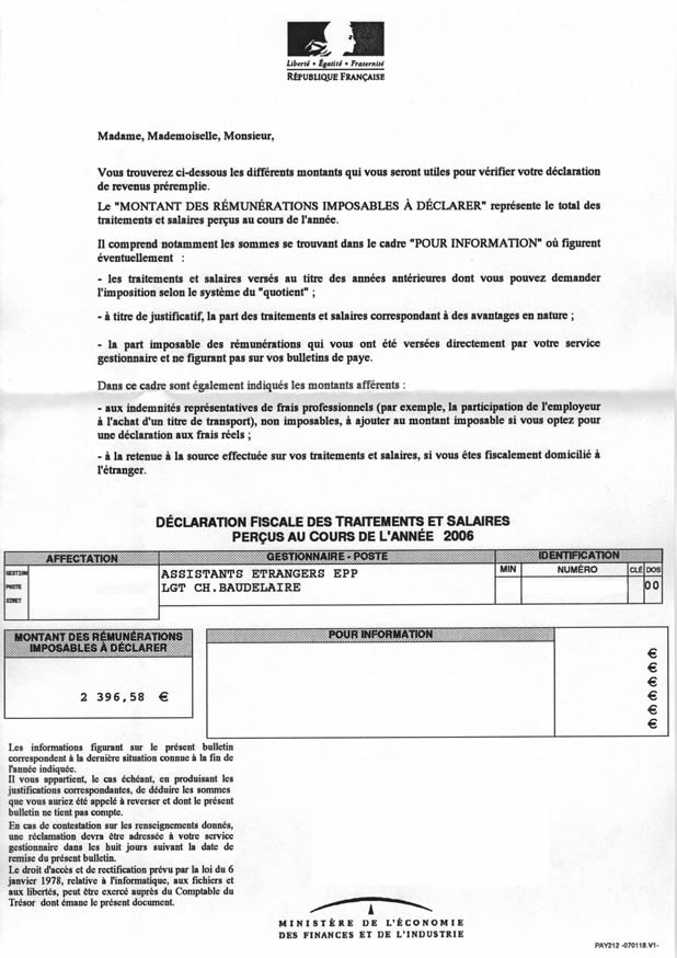 "French Translation of ""tax return"" 