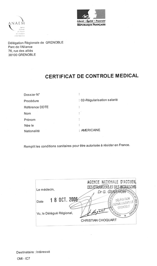 Medical visit attestation - proof that you had your medical visit