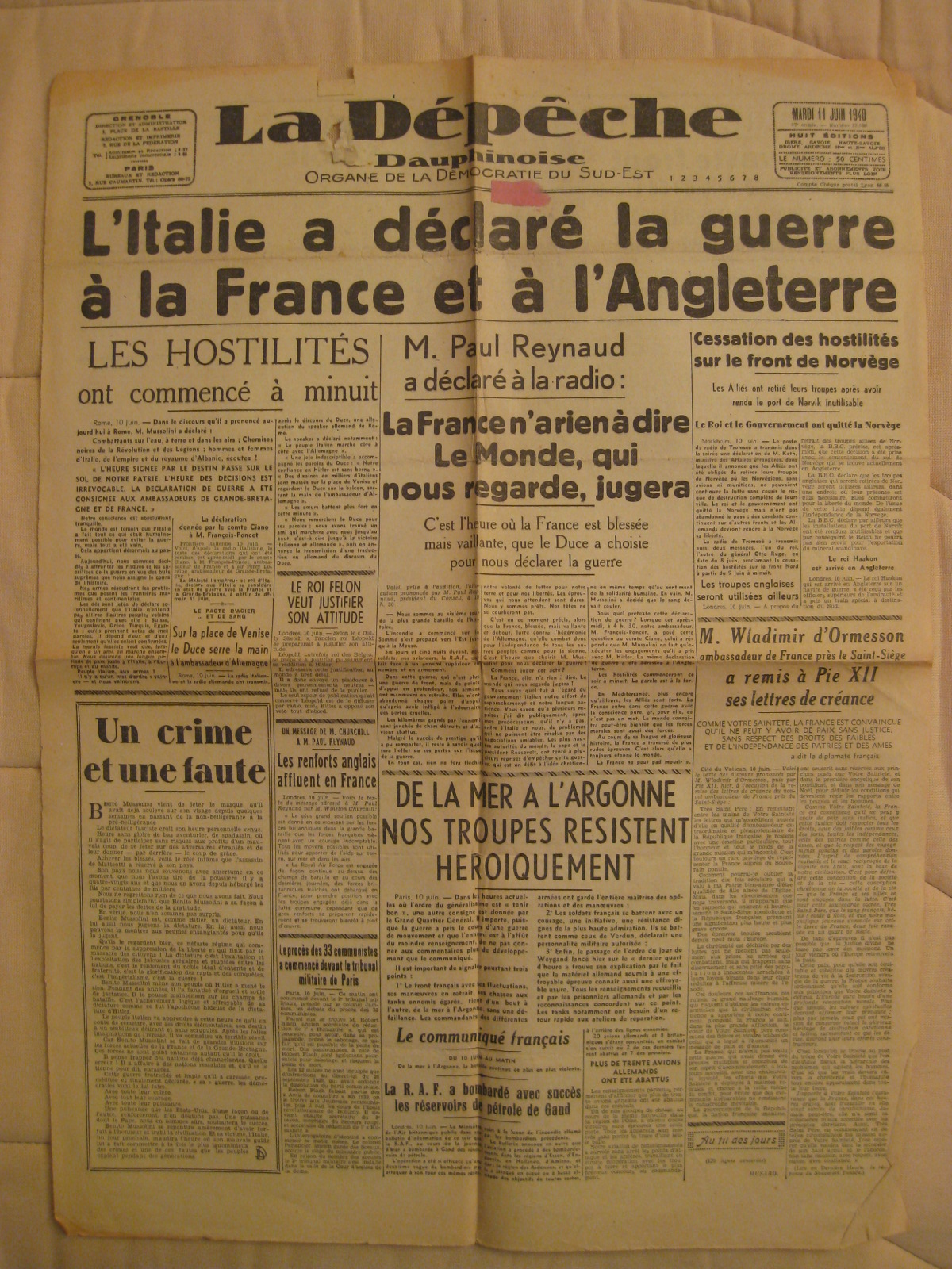 French Newspapers from 1919 and 1938-1942